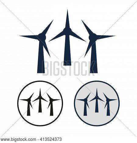 Simple Vector Icon Of The Wind Turbine. Set Of Round Black And White And Color Symbol Of The Field W