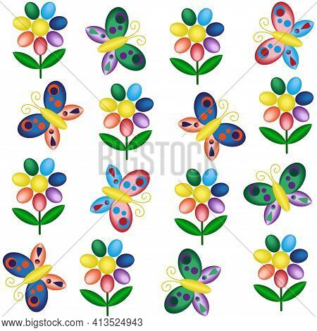 Seamless Pattern With Butterflies And Flowers In Bright Rainbow Lgbtq Colors. Natural Colorful Summe