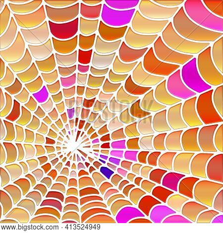 Abstract Vector Stained-glass Mosaic Background - Orange And Purple