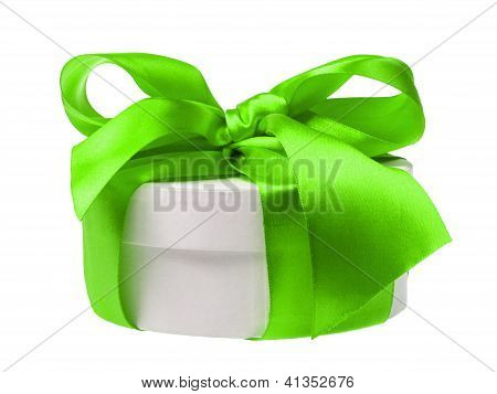 Round Gift Box Wrapped With Ribbon