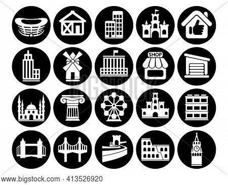 Buildings Vector Icons Set, Architectural Building Modern Solid Symbol Collection Office