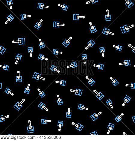 Line Engine Piston Icon Isolated Seamless Pattern On Black Background. Car Engine Piston Sign. Vecto