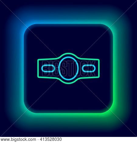Glowing Neon Line Boxing Belt Icon Isolated On Black Background. Belt Boxing Sport Championship Winn