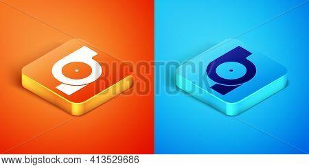 Isometric Automotive Turbocharger Icon Isolated On Orange And Blue Background. Vehicle Performance T