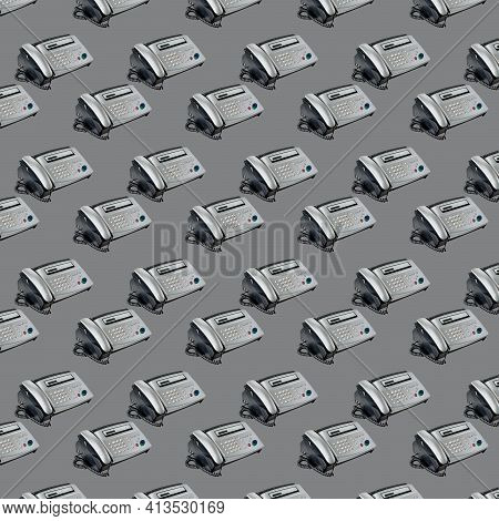 Old Office Fax Machine Shot On Gray Background. Seamless Pattern With Fax. Office Equipment
