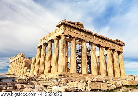 Parthenon Temple In Sunny Day. Acropolis In Athens, Greece. The Parthenon Is A Temple On The Athenia