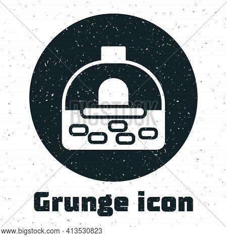 Grunge Brick Stove Icon Isolated On White Background. Brick Fireplace, Masonry Stove, Stone Oven Ico