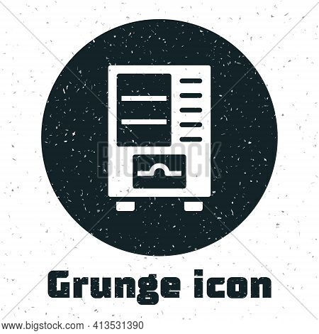 Grunge Vending Machine Of Food And Beverage Automatic Selling Icon Isolated On White Background. Mon