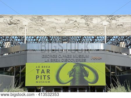 LOS ANGELES - MARCH 28, 2018: George C Page Museum at the La Brea Tar Pits. Situated within what was once the Mexican land grant of Rancho La Brea and now part of the Miracle Mile district.
