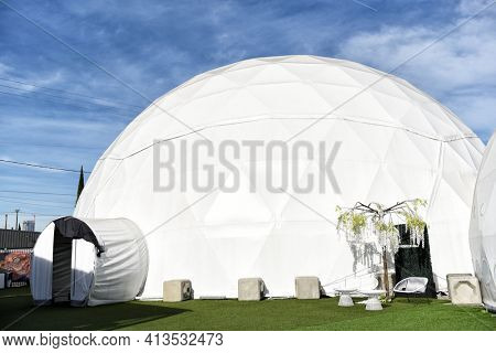 LOS ANGELES, CALIFORNIA - 05 FEB 2020: One of the five domes at the Wisdome.LA Immersive Art Park, featuring avant-garde experiences.