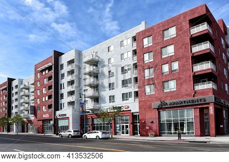 LOS ANGELES, CALIFORNIA - 05 FEB 2020: Apartment buildings and shops on Broadway in the heart of Chinatown.