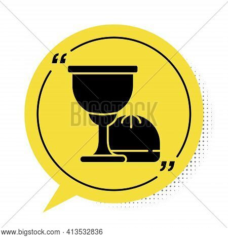 Black Holy Grail Or Chalice Icon Isolated On White Background. Christian Chalice. Christianity Icon.