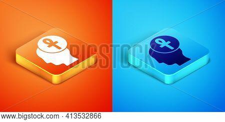 Isometric Cross Ankh Icon Isolated On Orange And Blue Background. Vector