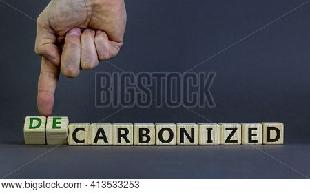 Carbonized Or Decarbonized Symbol. Businessman Turns Wooden Cubes And Changes Words 'carbonized' To