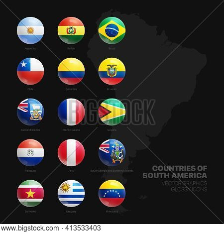 South America Countries Flags Vector 3d Glossy Icons Set Isolated On Black Background. American Offi