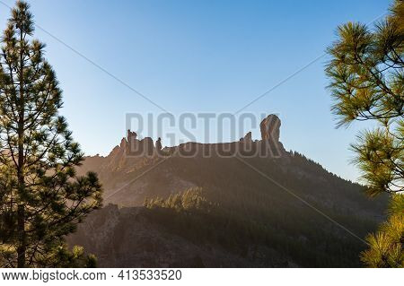 Roque Nublo, Symbolic Natural Monument Of Gran Canaria, Canary Islands In Backlight Sunset Evening L
