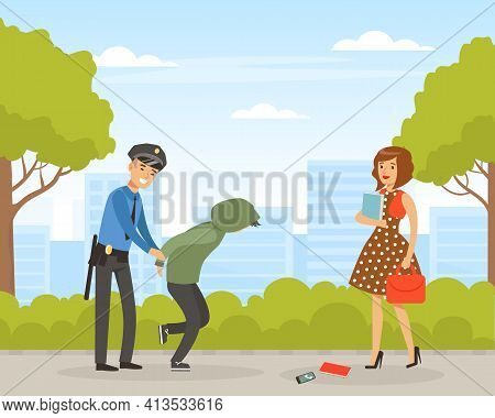 Policeman Or Cop As Warranted Law Employee Putting Handcuffs On Caught Criminal Vector Illustration
