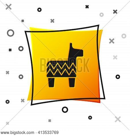 Black Pinata Icon Isolated On White Background. Mexican Traditional Birthday Toy. Yellow Square Butt