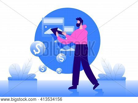 Pay Per Click Illustration Concept Vector, Online Business
