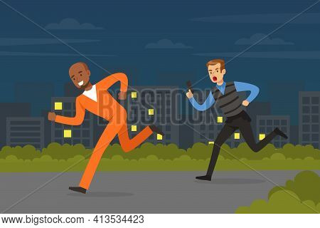Policeman Or Cop As Warranted Law Employee Running After Escaping Prisoner Vector Illustration