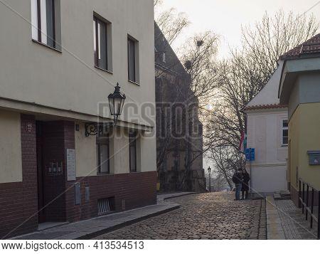 Czech Republic, Prague, February 23, 2021: Late Afternoon View Of Apolinarska Street At Prague Cente