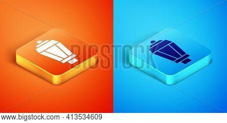 Isometric Garden Light Lamp Icon Isolated On Orange And Blue Background. Solar Powered Lamp. Lantern