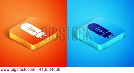 Isometric Light Emitting Diode Icon Isolated On Orange And Blue Background. Semiconductor Diode Elec