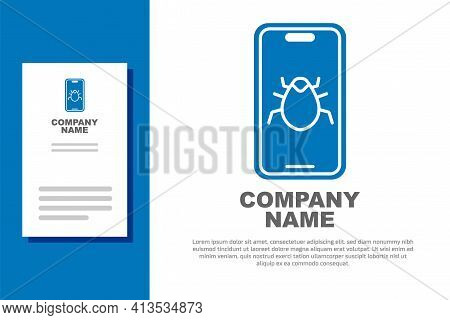 Blue System Bug On Mobile Icon Isolated On White Background. Code Bug Concept. Bug In The System. Bu
