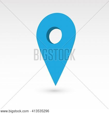 Map Pointer - Blue 3d Vector Object With Dropped Shadow. Location Mark.