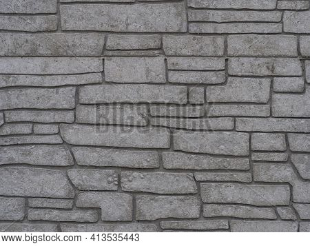 Grey Beige Concrete Block Tile Wall Structure Background