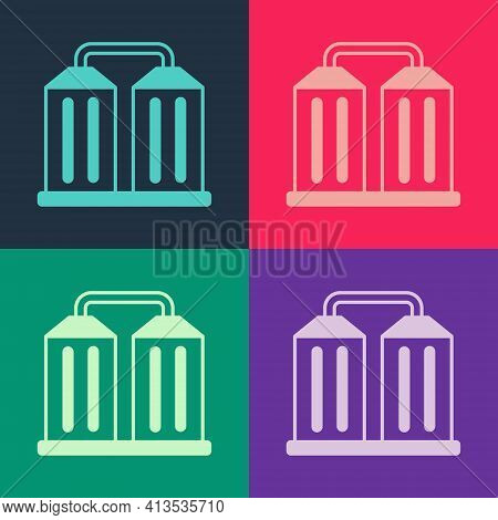 Pop Art Granary Icon Isolated On Color Background. Silo With Grain, Elevator, Granary, Factory. Ware