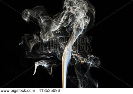 Grey Smoke Abstract High Quality Texture And Isolated Effect With Dark Background