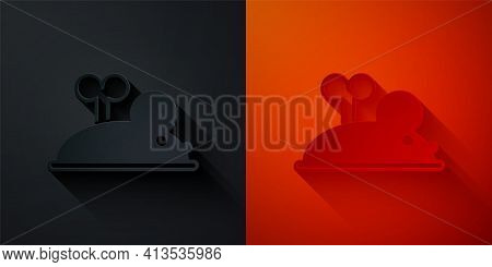 Paper Cut Clockwork Mouse Icon Isolated On Black And Red Background. Wind Up Mouse Toy. Paper Art St