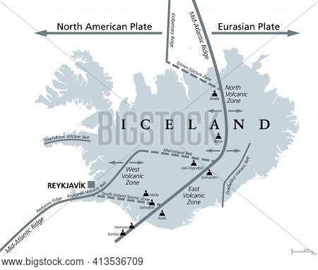 Geology Of Iceland, Gray Political Map. Iceland Lies On The Divergent Boundary Between Eurasian Plat