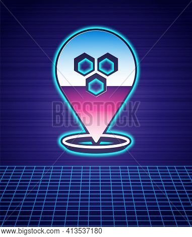 Retro Style Honeycomb Bee Location Map Pin Pointer Icon Isolated Futuristic Landscape Background. Fa