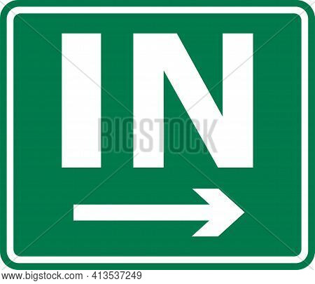Roadside Direction Sign. White On Green Background. Directional Signs And Symbols.