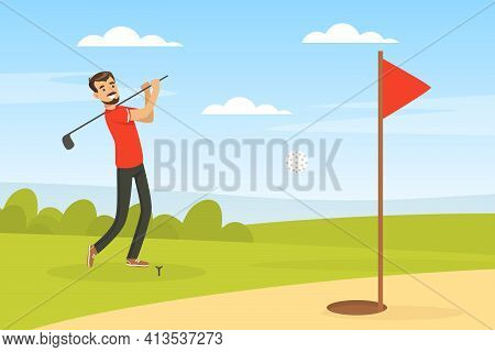 Cheerful Male Playing Golf Hitting Ball Into Hole With Club Vector Illustration