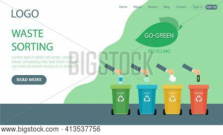 Vector Illustration In Flat Cartoon Style. Landing Page Layout Composition With Writings And Objects