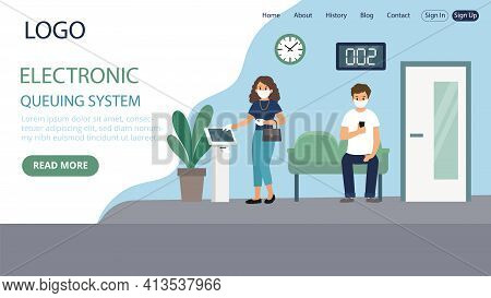 Electronic Queuing System Vector Illustration. Flat Style Conceptual Composition. Webpage Landing Te