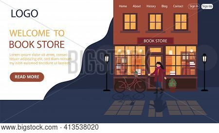 Bookstore Advert Vector Illustration. Flat Style Conceptual Composition. Webpage Landing Template De
