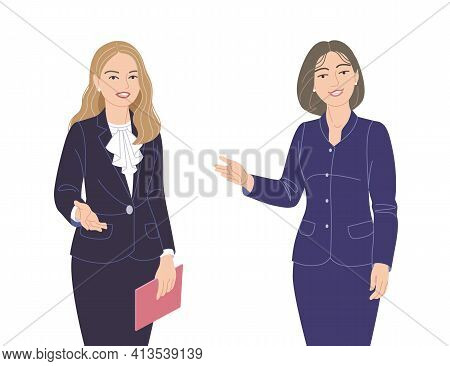 Friendly Business Women In Strict Clothes Isolated On White. Office Worker, Spokesperson, Presentati