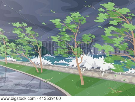 Seaside Landscape With Storm In Ocean, Huge Waves And Deciduous Trees On High Wind Along Coast. Natu