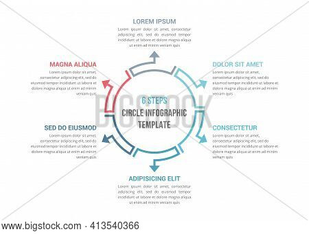 Circle Diagram Template With Six Elements, Infographic Template For Web, Business, Presentations, Ve