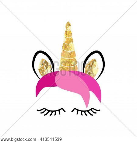 Fabulous Cute Unicorn With Golden Gilded Horn And Closed Eyes.