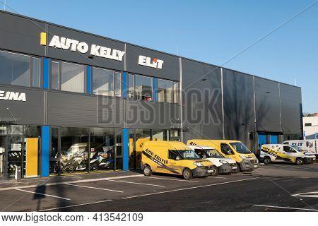 Ostrava, Czech Republic - December 27, 2020: The Retail Shop Of Auto Kelly And Elit Car Spare Parts