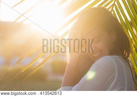 Happy Vacation Woman On Beach Summer Holiday In Cheerful Bliss Enjoying The Sunshine. Beautiful Girl