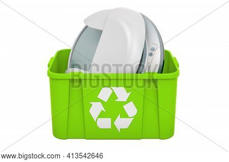 Recycling Trashcan With Led Nail Lamp, 3d Rendering Isolated On White Background