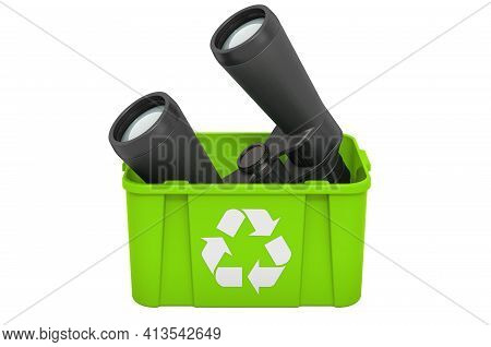 Recycling Trashcan With Binoculars, 3d Rendering Isolated On White Background