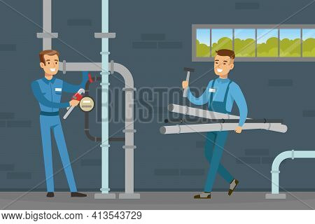 Young Man Plumber Wearing Blue Overall Fixing Tubes And Pipe Lines Vector Illustration