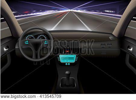 Car On The Night Street Realistic Vehicle Inside Interior Vector Illustration
